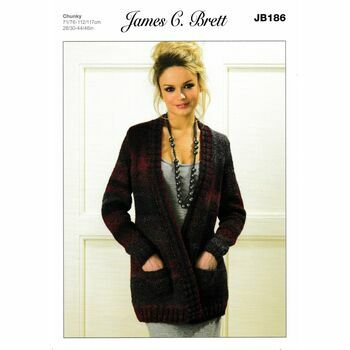 James C Brett Chunky Knitting Pattern JB186 (Womens Jacket)