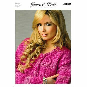 James C Brett Chunky Knitting Pattern JB072 (Womens Cardigan)