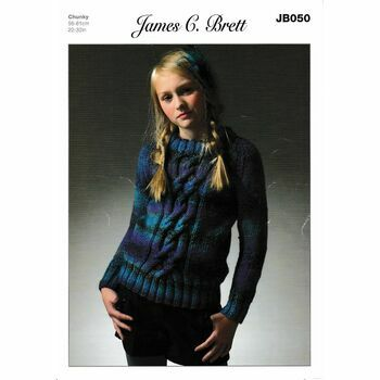 James C. Brett JB050 Chunky Knitting Pattern (Girls Sweater)