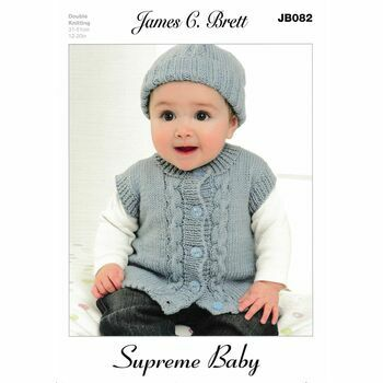 James C Brett DK Knitting Pattern JB082 (Baby Cardigan/Hat/Mittens)