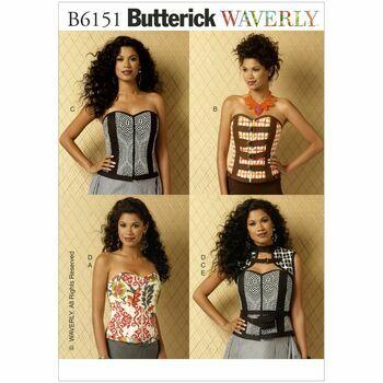 Butterick Pattern B6151 Boned Sweetheart-Neckline Corsets, Vest and Belt