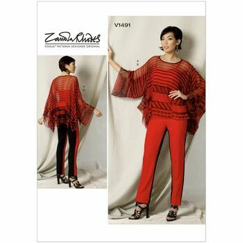 Vogue Zandra Rhodes Sewing Pattern V1491 (Misses Tunic & Pants)