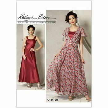 Vogue Kathryn Brenne Sewing Pattern V9168 (Misses Dress/Belt/Slip)