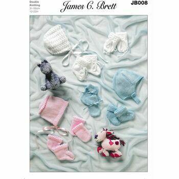 James C Brett DK Knitting Pattern JB008 (Baby Bonnet/Mittens/Bootees)