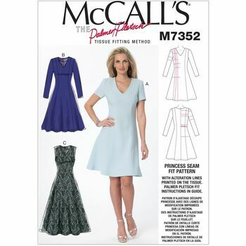 McCalls M7352 Misses' Jewel or V-Neck Fit and Flare Dresses Pattern