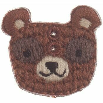 Woodland Bear embroidered button 23mm