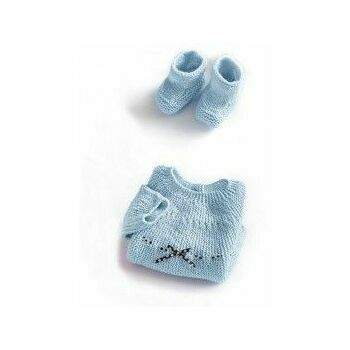 Blue Jumper & Boots Kit - 0-3 months (with needles)