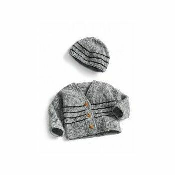 Grey Cardigan & Cap Kit - 0-3 months (with needles)