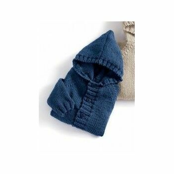 Jeans Blue Hooded Coat Kit - 3-12 months (with needles)
