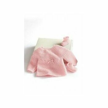 Pink Jumper & Boots Kit - 0-3 months (with needles)