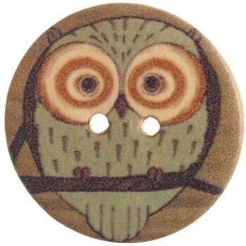 Patterned Owl Button - 48 Lignes/30mm