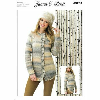 Brett Pattern JB287 Ladies Marble Chunky Cardigan Knitting Pattern