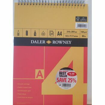 Daler Rowney Red & Yellow Spiral Smooth Cartridge (A4)