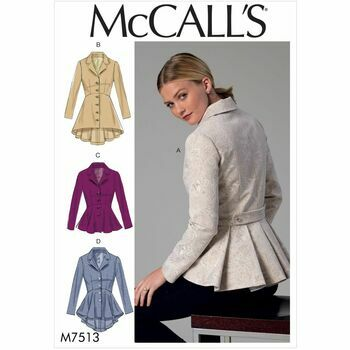 McCalls Pattern M7513 Misses\' Notch-Collar, Peplum Jackets