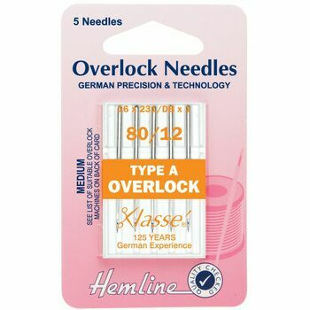Hemline Overlock Machine Needles - Type A 80/12