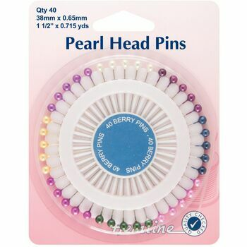 Hemline Nickel Pearl Head Pins - 38mm (40pcs)