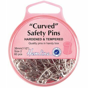 Hemline Nickel Curved Safety Pins - 38mm (60pcs)