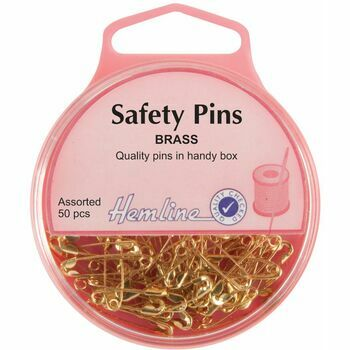 Hemline Brass Safety Pins - 19mm/23mm (50pcs)
