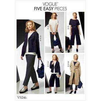 Vogue Pattern V9246 Misses\' Drop-Shoulder Jackets, Belt, Top with Yokes, and Pull-on Pants