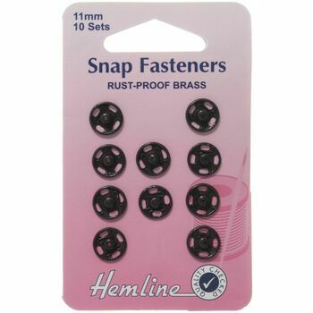 Hemline Sew On Snap Fasteners (Black) - 11mm