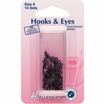 Hemline Hooks & Eyes - Black (Size 0)