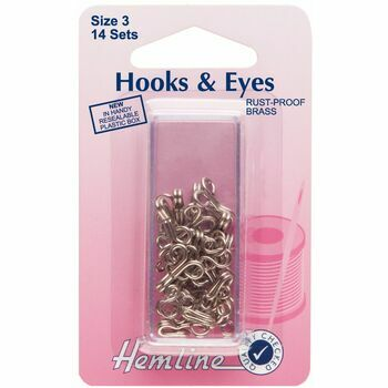 Hemline Hooks & Eyes - Nickel (Size 3)