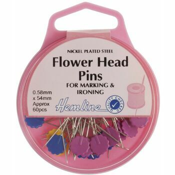 Hemline Flower Head Pins - Nickel (60pcs)