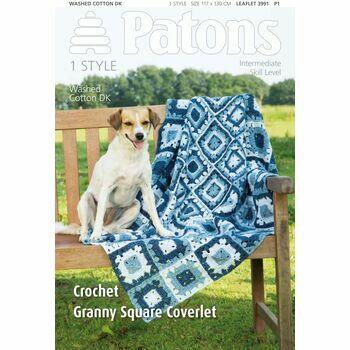 Patons Crochet Granny Square Coverlet Leaflet (3991)