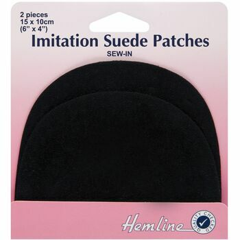 Hemline Sew-In Imitation Suede Patches - Black