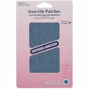 Hemline Cotton Twill Iron-On Patches - Light Denim