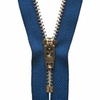 YKK Brass Jeans Zip - Royal Blue (15cm)