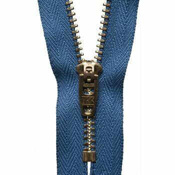 YKK Brass Jeans Zip - Slate Blue (15cm)