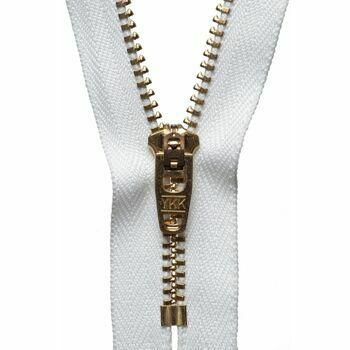 YKK Brass Jeans Zip - White (15cm)