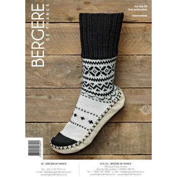Bergere de France FAIRISLE SLIPPER SOCKS WITH RIBBED PATTERN - 42809