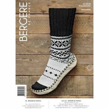 Bergere de France FAIRISLE SLIPPER SOCKS WITH RIBBED PATTERN -42809