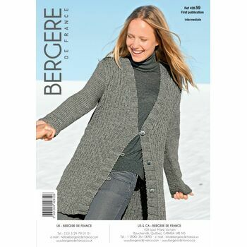 Bergere de France Women's LONG V NECK CARDIGAN PATTERN - 42859