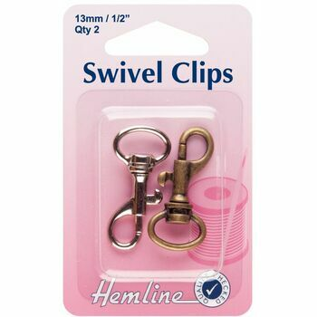 Hemline Swivel Clips - Bronze & Metal (13mm)