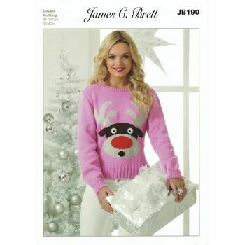 Brett Pattern Reindeer Christmas Jumper Knitting Pattern - DK JB190
