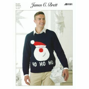 James C. Brett Father Christmas Jumper Knitting Pattern - DK JB191