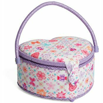 HobbyGift Classic Heart Sewing Box (Medium) - Royal
