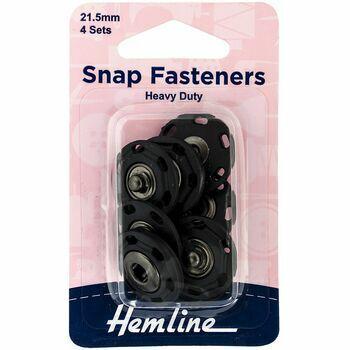 Hemline Sew On Plastic Snap Fasteners (21.5mm) - Black
