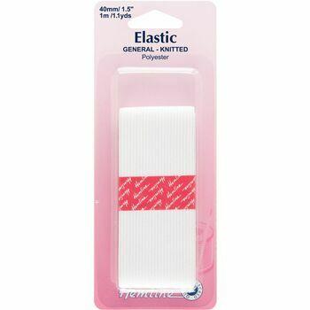 Hemline General Purpose Knitted Elastic - White (1m x 40mm)