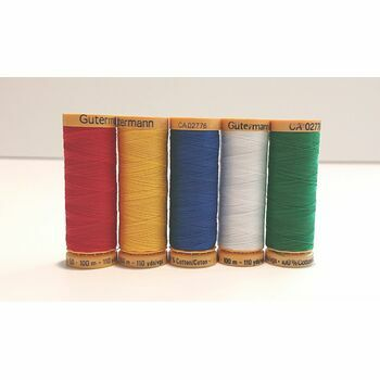 Natural Cotton Thread: 100m: Bright Colours: Pack of 5