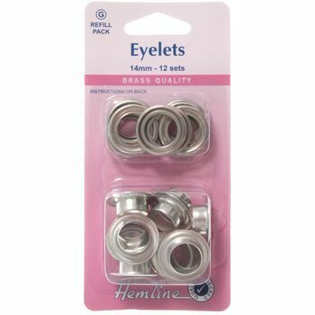 Hemline Eyelets Refill Pack - Nickel/Silver (14mm)
