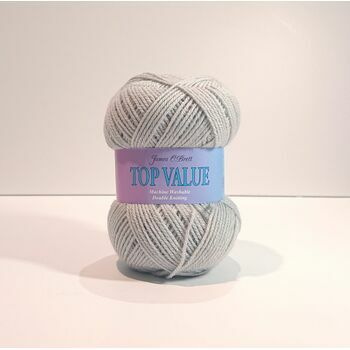 James C Brett Top Value DK Yarn - Pearl Grey: 8458 (100g)