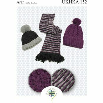 UKHKA Pattern 152: Adult Scarf & Hats