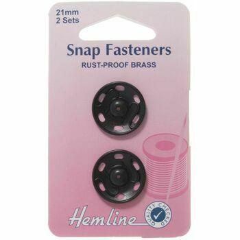 Hemline Sew-on Snap Fasteners - Black: 21mm (Pack of 2)