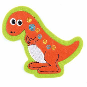 The Craft Factory Iron On / Sew On Motif - Orange Dinosaur