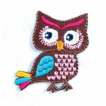 The Craft Factory Iron on & Sew on Motif - A Colourful Owl