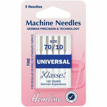 Hemline Universal Sewing Machine Needles - Fine 70/10